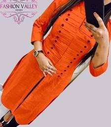 Buy Orange plain stitched cotton-kurtis cotton-kurtis online