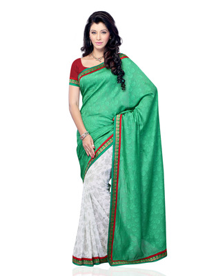 Sea Green And White Color Jacquard And Georgette Party Wear Designer Saree