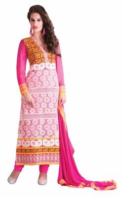 Striking Pink Colored Georgette Salwar Kameez