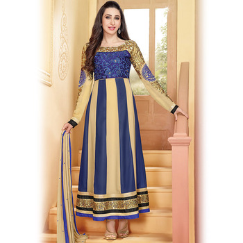 Beige and Blue Anarkali Suit