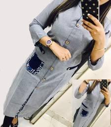 Buy Grey printed cotton stitched long-kurtis long-kurti online