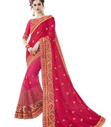 Buy Red embroidered faux satin saree with blouse designer-embroidered-saree online