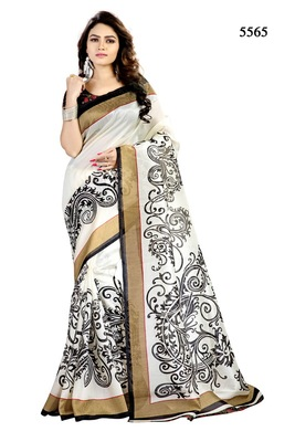 White printed bhagalpuri cotton saree with blouse