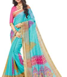 Buy Multicolor printed cotton saree with blouse below-1500 online