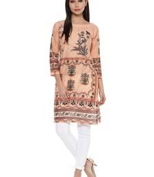 Buy Peach printed cotton stitched kurtas-and-kurtis kurtas-and-kurti online