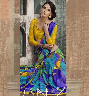 Trendy Multi Color Georgette Saree