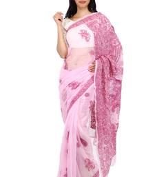 Buy Pink embroidered georgette saree with blouse chikankari-sari online