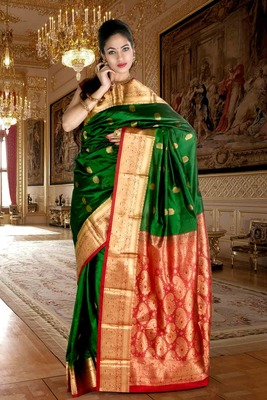 Bright green pure silk zari weaved saree with red pallu -SR5793