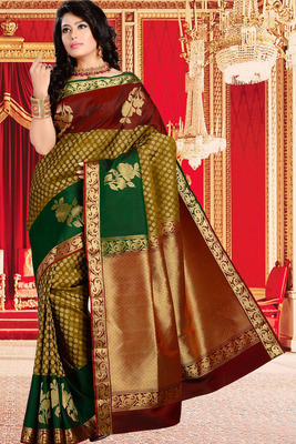 Multi colour pure silk zari weaved saree in maroon pallu-SR5826