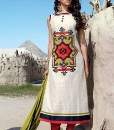 Buy White stitched taffeta silk stitched kurti black-friday-deal-sale online