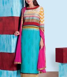 Buy light_blue stitched taffeta silk stitched kurti Woman online