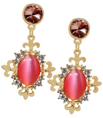 Dashing Pink Stone Work Push-Back Drop Earrings