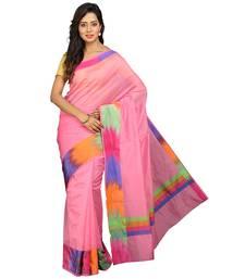 Buy Pink plain silk cotton saree with blouse banarasi-saree online