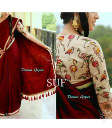 Buy Maroon printed chanderi saree with blouse black-friday-deal-sale online