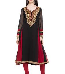 Buy Black embroidered georgette stitched long-kurtis long-kurtis online