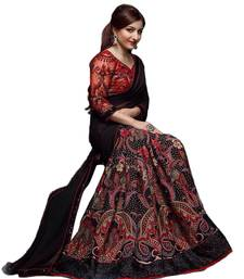Buy Black printed georgette saree with blouse bollywood-saree online