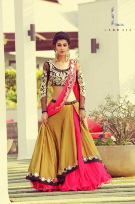 Yellow embroidered dupion silk unstitched lehenga with dupatta