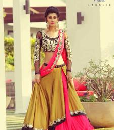 Buy Yellow embroidered dupion silk unstitched lehenga with dupatta lehenga online