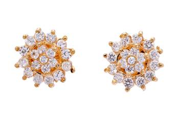 FABULOUS STONE STUDDED ROUND FLOWER TOPS/STUDS/EARRINGS (AD) - PCE1102