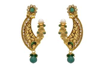 ANTIQUE GOLDEN STONE STUDDED EARRINGS/HANGINGS (GREEN)  - PCAE2061