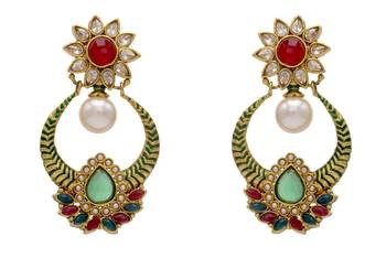 ANTIQUE GOLDEN STONE STUDDED FLOWER STYLE CHAAND BAALI EARRINGS/HANGINGS (RED GREEN)  - PCAE2113