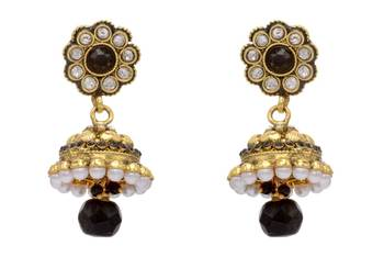 ANTIQUE GOLDEN STONE STUDDED FLOWER STYLE EARRINGS/HANGINGS (BLACK)  - PCAE2126