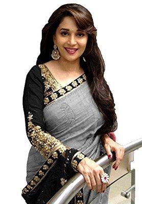 Black embroidered bhagalpuri saree with blouse