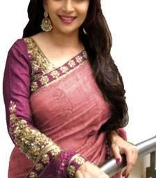 Buy Pink embroidered bhagalpuri saree with blouse designer-embroidered-saree online
