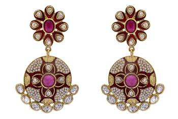 ANTIQUE GOLDEN STONE STUDDED POLKI MEENA WORK FLOWER STYLE EARRINGS/HANGINGS (RED)  - PCAE2169