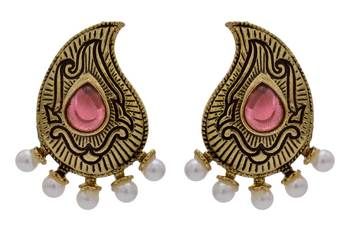 ANTIQUE GOLDEN TRADITIONAL STONE STUDDED KAIRI SHAPED EARRINGS/HANGINGS (RED)  - PCAE2207