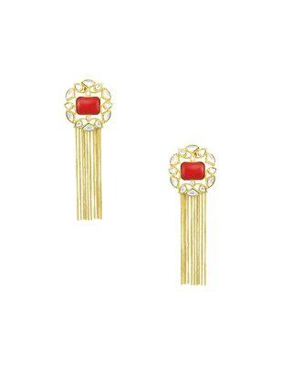 Orange jadau kundan dangle earrings jewellery for women