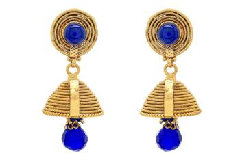 ANTIQUE GOLDEN TRADIONAL HANDMADE VENI JHUMKA/EARRINGS/HANGINGS (BLUE) - PCAE2280