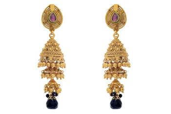 ANTIQUE GOLDEN TRADIONAL HANDMADE 3 STEP VENI JHUMKA/EARRINGS/HANGINGS (BLACK) - PCAE2291