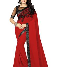Buy Red embroidered georgette saree with blouse below-1500 online