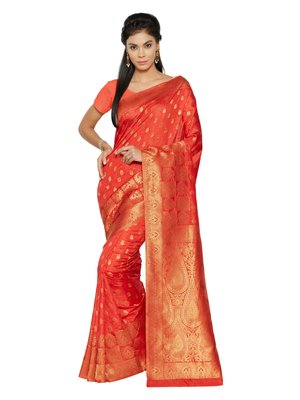 Red woven tussar_silk saree with blouse