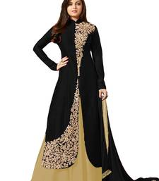 Buy Black embroidered satin semi stitched salwar with dupatta semi-stitched-salwar-suit online