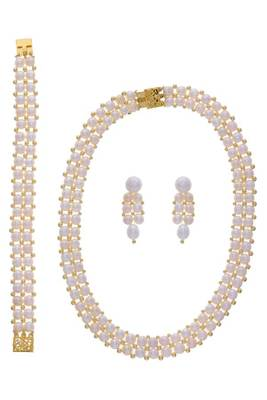 UNIQUE BUTTON PEARLS NECKLACE BRACELET EARRING COMBO SET  (PEARL) -