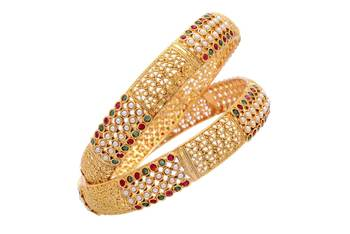 ROYAL TRADITIONAL ANTIQUE GOLDEN POTA STONE STUDDED HANDMADE BANGLE SET (2 PC) (PEARL RED GREEN) -