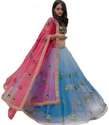 Buy Sky blue embroidered net semi stitched lehenga with dupatta  hot-deal online