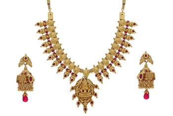ANTIQUE GOLDEN STONE STUDDED TRADITIONAL TEMPLE THEM NECKLACE SET(RED) -