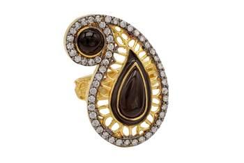 ANTIQUE GOLDEN KAIRI THEME STYLE ADJUSTABLE SIZE FINGER RING (BLACK)  -