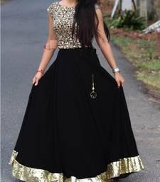 Buy Black embroidered cotton silk semi stitched lehenga with dupatta lehenga-choli online