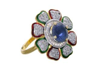 AD STONE STUDDED ROYAL ELEGANT FLOWER THEME ADJUSTABLE SIZE FINGER RING (MULTY)