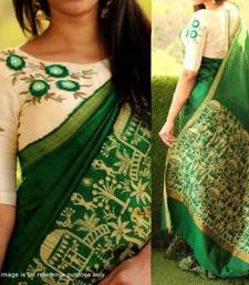 Buy Green printed bhagalpuri saree with blouse printed-saree online