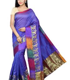 Buy Blue plain banarasi silk saree with blouse banarasi-silk-saree online