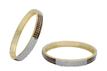 AD STONE STUDDED MEENA WORK CUBIC ZARCONIA BANGALES SET (2 PC)(AD RED GREEN) - PC