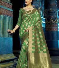 Buy Green woven kanchipuram silk saree with blouse pongal-dhoti-saree online