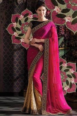 Beige Georgette & Net designer weaved saree in brown border-SR5742