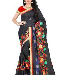 Buy Black embroidered chanderi silk saree with blouse chanderi-saree online