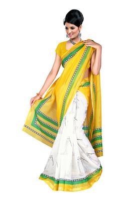 Yellow Colored Silk Kota Printed Saree